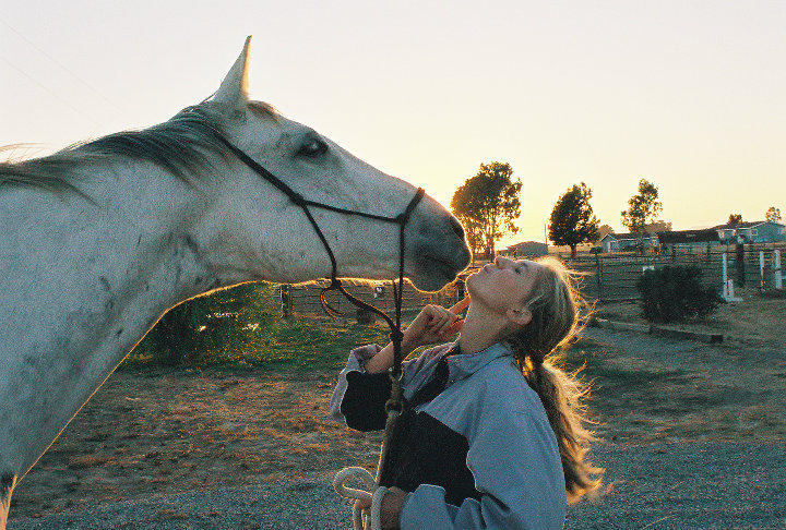 By speaking the horse language Krystal can truly bond with her equine friend. And is getting a kiss.