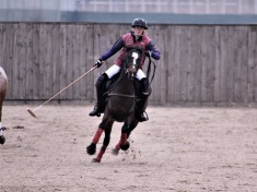 Krystal and her project horse Lilly playing arena polo