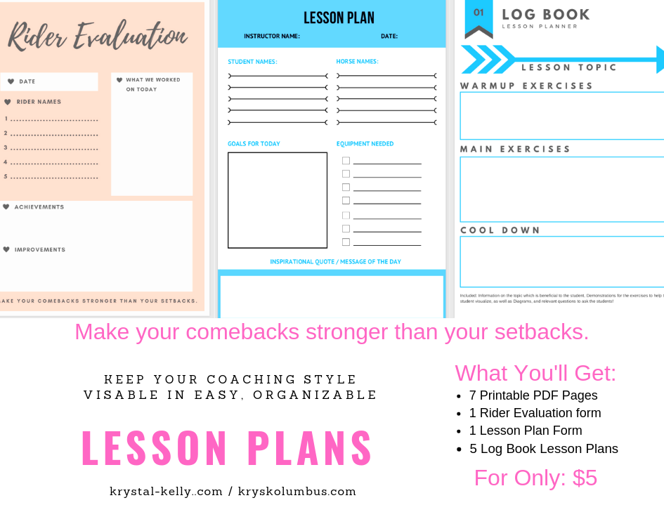 lesson planners for sale for horse riding instructors