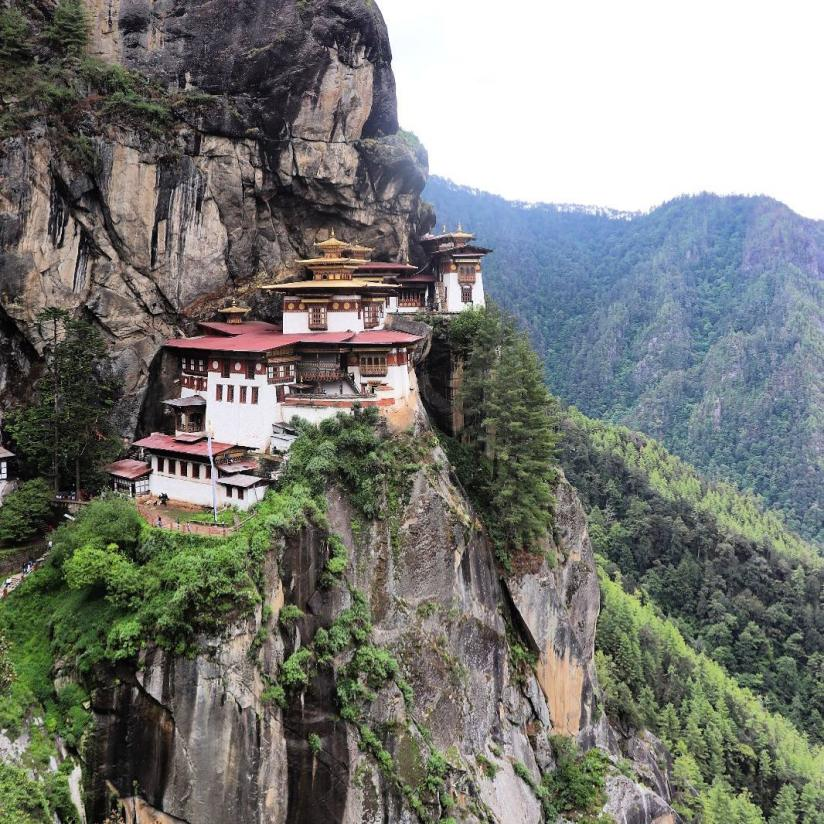 The Tiger's Nest Temple is built on a very steep cliff