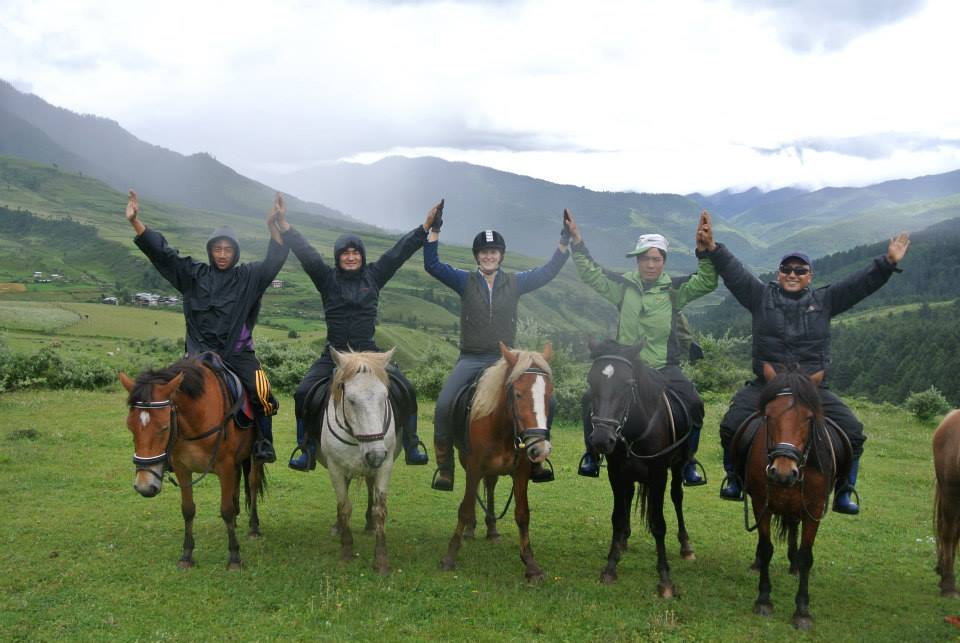 Five Bhutanese mountain ponies ridden by Krystal and the soon to be trail guides